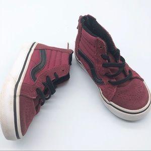Vans Skate Hi Red Black Sneaker zip back Toddler 7